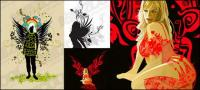 3 of the wings of female pattern vector material