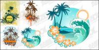 4, coconut trees theme vector material