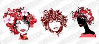 Fashion female flower head vector material