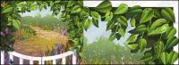 Vector material vine leaves