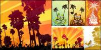 coconut trees theme vector illustrations material