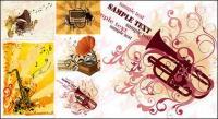 Gramophone, trumpet music,vector material
