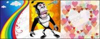 Rainbow orangutan heart-shaped vector material