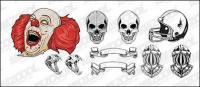 Skulls helmet skull clown vector material