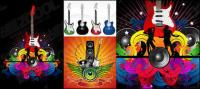 Guitar theme vector material