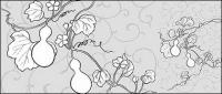 Line drawing of flowers -22