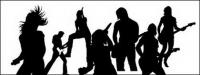 Live performances of music artist silhouettes vector material