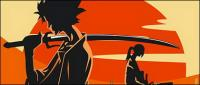 Samurai and sunset Vector