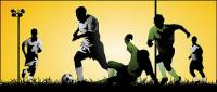 Playing soccer athletes vector material