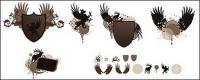 Shields, wings, pictorial material vector
