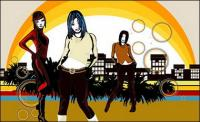 The trend of urban women vector material