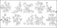 Flower type of line drawing vector diagram-5