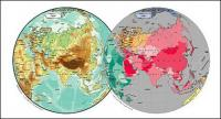 Vector map of the world exquisite material - Asia spherical map