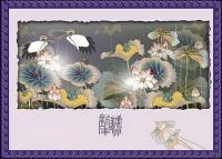 Classical auspicious vector of material - Crane Lotus plans