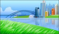 Beautiful city scenery vector -1