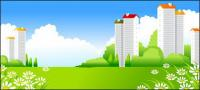 Beautiful city scenery vector -3