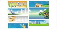 City buses, and other rural scenery of vector material