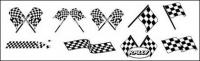 Black and white checkered racing flags vector material