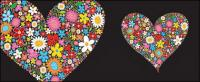 Colourful flowers composed of heart-shaped
