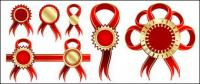 Red Ribbon badge vector material