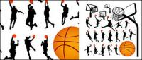 Basketball figure silhouettes and Lan Qiujia