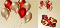 Balloons, ribbons, roses vector material