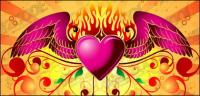Vector material flame wings of love