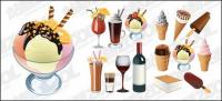 Ice cream and drinks vector material