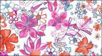 Psd fashion hand-painted floral patterns layered material