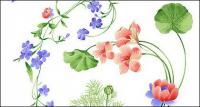 Psd fashion hand-painted floral patterns layered material-2
