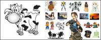 Animated cartoon characters, animals vector material
