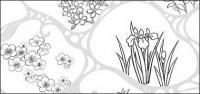 Vector line drawing of flowers-47(Flowing water, flowers, leaves)