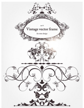 europeanstyle floral border and decorations vector