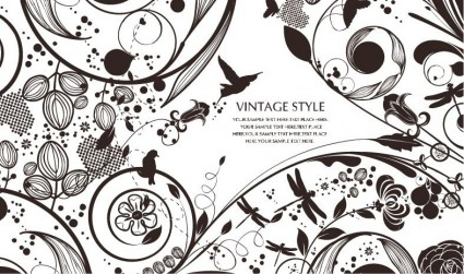 vintage style floral vector background