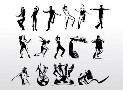 siluetas de vector de arte aeróbico bailarina