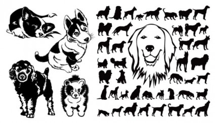 black and white dog silhouette vector
