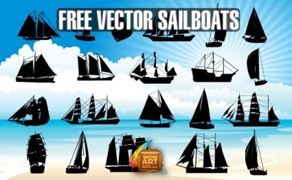 Vector siluetas de barcos de vela