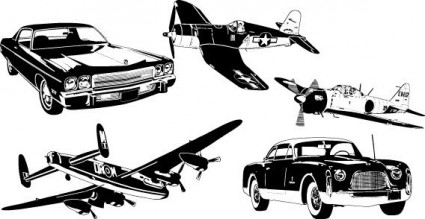 cars and airplane vector