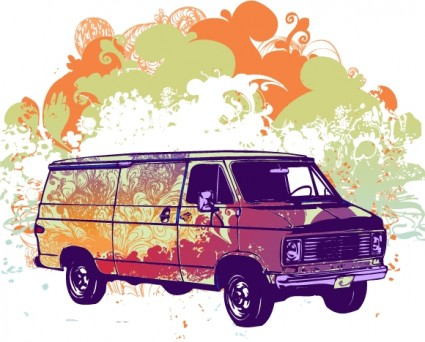 psychadelic van vector illustration