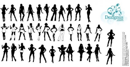 beautiful girls silhouettes vector