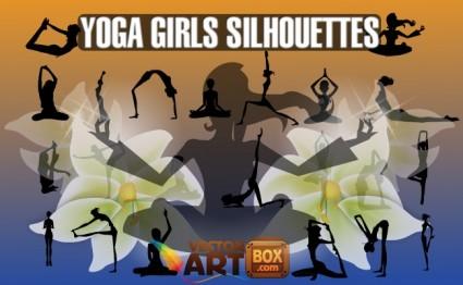 yoga girls silhouettes