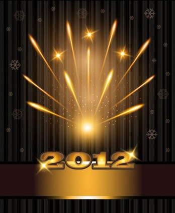 2012 bright fireworks background vector