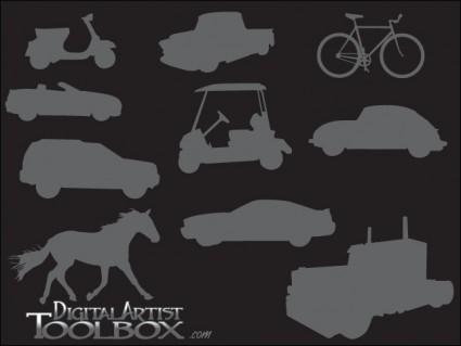 10 trasportation silhouettes