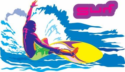 surf sports figures vector