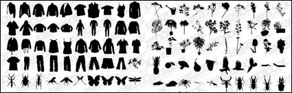 t shirt pants flowers plants insects vector material
