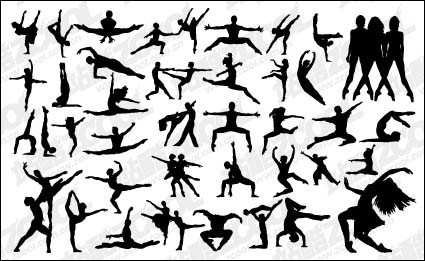 vector people silhouette dancing
