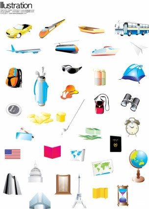 vehicles and sports equipment vector
