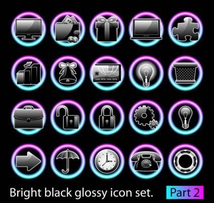 black glossy icon set vector