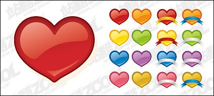 web2 style heart shaped icon vector material