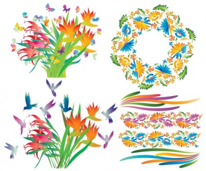 beautiful decorative flowers vector